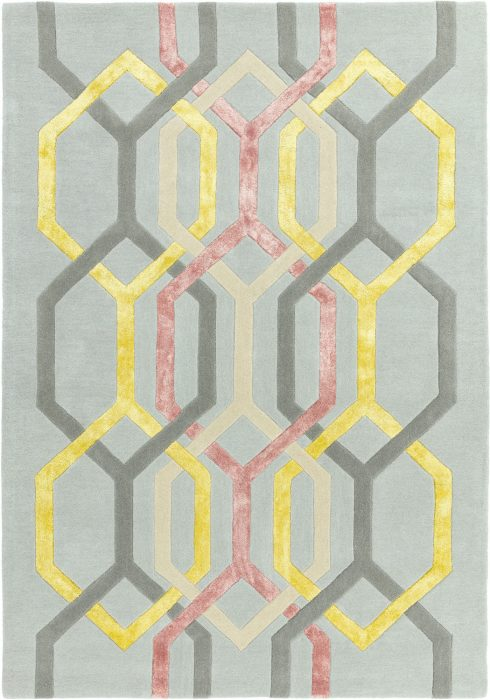 Matrix Rug by Asiatic Carpets in MAX67 Hexagon Silver Design; contemporary wool hand-tufted design Matrix rug
