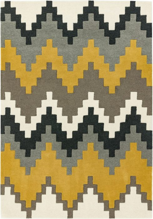 Matrix Rug by Asiatic Carpets in MAX69 Cuzzo Mustard Design; contemporary wool hand-tufted design Matrix rug