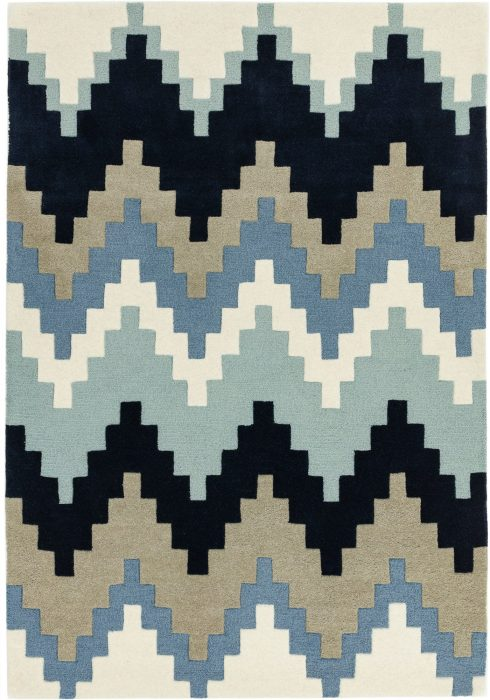 Matrix Rug by Asiatic Carpets in MAX70 Cuzzo Blue Design; contemporary wool hand-tufted design Matrix rug
