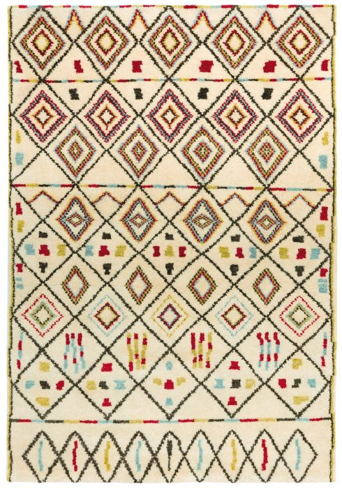 Amira Rug by Asiatic Carpets in AM06 Design has a hand-knotted Moroccan Berber look, washed for a softer look