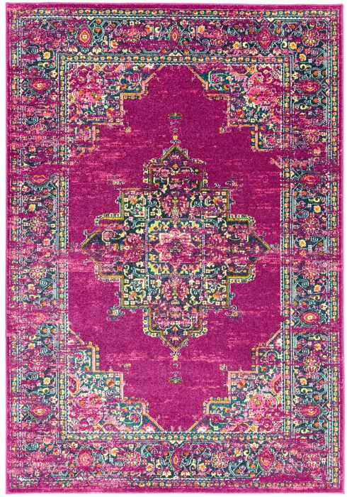 Colt Rug by Asiatic Carpets in CL04 Medallion Fuchsia Design; a combination of modern classics and bold geometrics