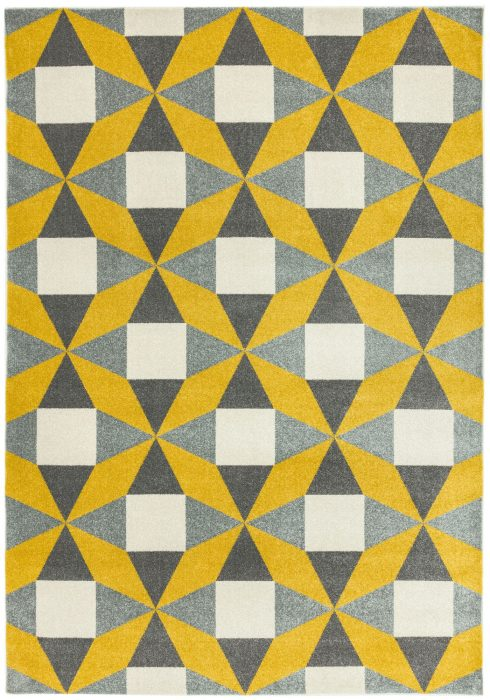 Colt Rug by Asiatic Carpets in CL14 Fan Mustard Design; a combination of modern classics and bold geometrics