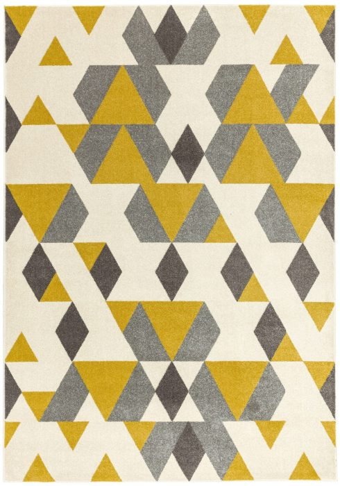 Colt Rug by Asiatic Carpets in CL18 Pyramid Mustard Design; a combination of modern classics and bold geometrics