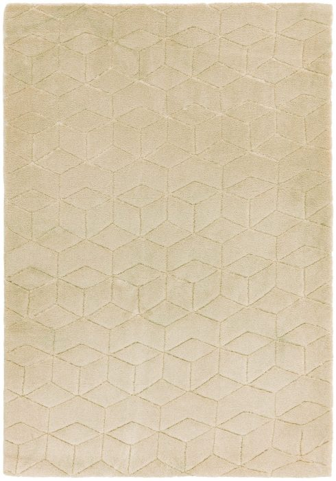 Cozy Rug by Asiatic Carpets in Beige Colour; a soft touch plain rug with a geometric pattern. It is a machine-woven rug