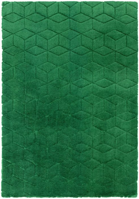 Cozy Rug by Asiatic Carpets in Green Colour; a soft touch plain rug with a geometric pattern. It is a machine-woven rug