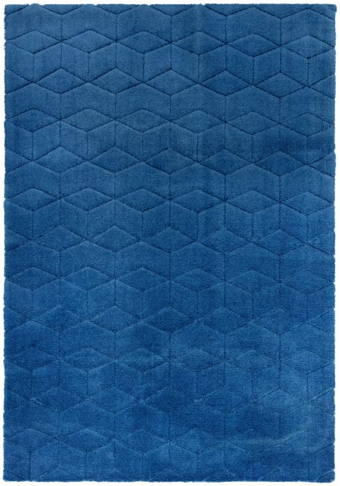 Cozy Rug by Asiatic Carpets in Navy Colour; a soft touch plain rug with a geometric pattern. It is a machine-woven rug