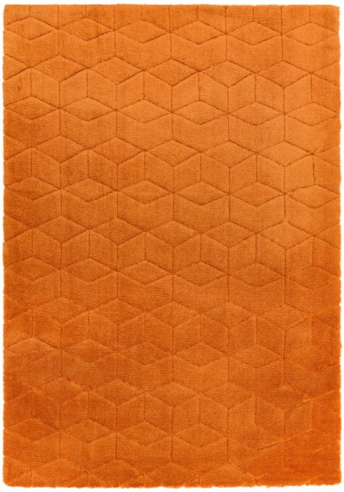 Cozy Rug by Asiatic Carpets in Orange Colour; a soft touch plain rug with a geometric pattern. It is a machine-woven rug