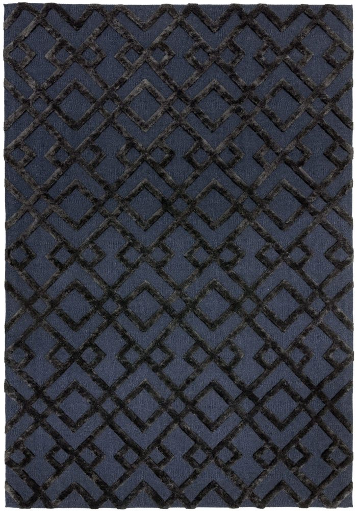 Dixon Rug by Asiatic Carpets in Black Trellis Colour; a wool dhurrie rug with raised viscose design