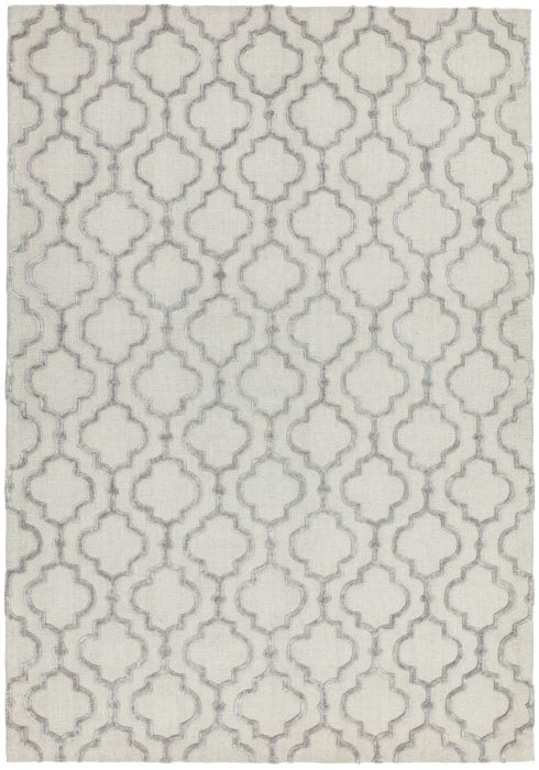 Dixon Rug by Asiatic Carpets in Grey Ogee Colour; a wool dhurrie rug with raised viscose design