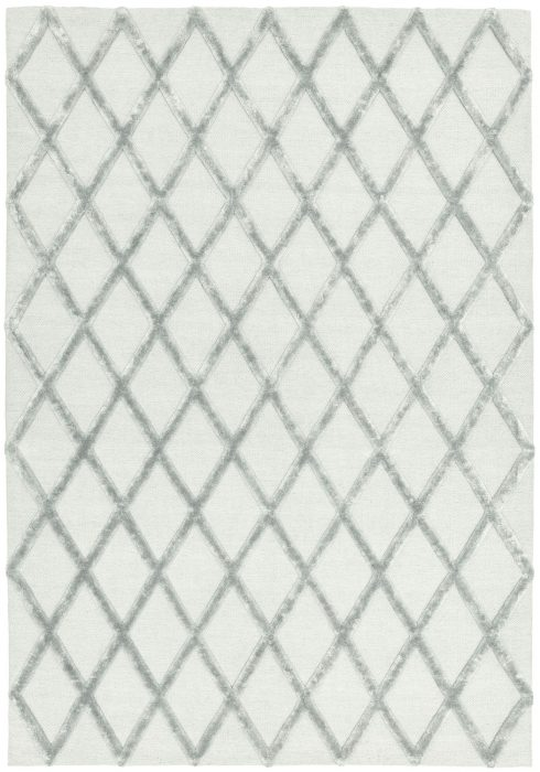 Dixon Rug by Asiatic Carpets in Silver Diamond Colour; a wool dhurrie rug with raised viscose design