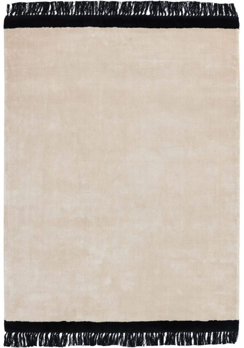 Elgin Rug by Asiatic Carpets in Cream/Black Colour; a decorative viscose rug with a contrasting fringed edge
