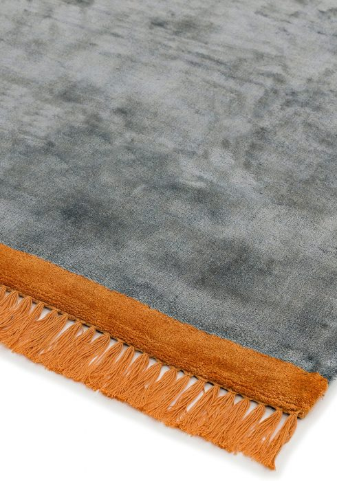 Elgin Grey Orange Rug - Closeup