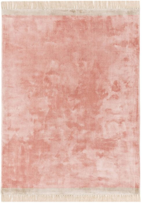 Elgin Rug by Asiatic Carpets in Pink/Silver Colour; a decorative viscose rug with a contrasting fringed edge