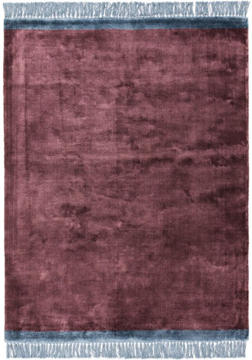 Elgin Rug by Asiatic Carpets in Plum/Blue Colour; a decorative viscose rug with a contrasting fringed edge