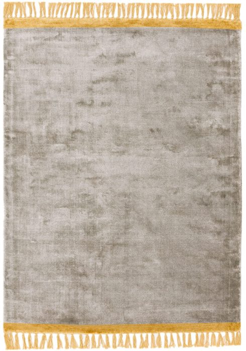 Elgin Rug by Asiatic Carpets in Silver/Mustard Colour; a decorative viscose rug with a contrasting fringed edge