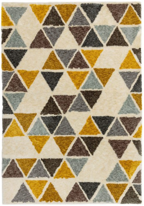 Gala Rug by Asiatic Carpets in GA04 Yellow Triangle Design; a retro-style shaggy rug in soft space-dyed polyester