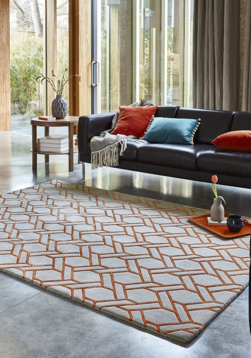 Nexus Fine Lines Orange Rug