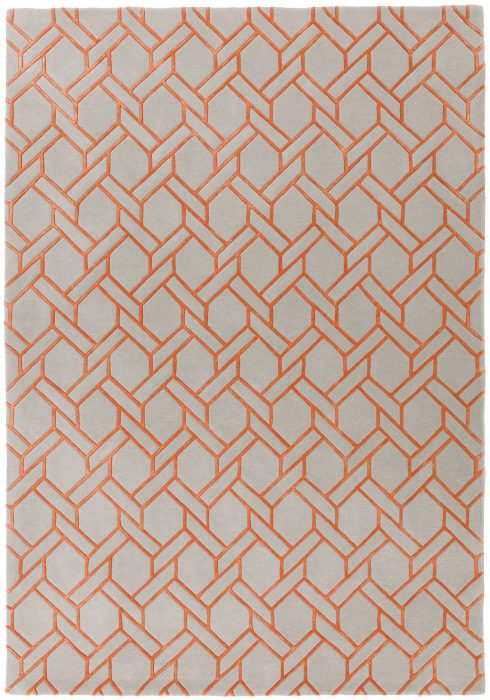 Nexus Fine Lines Silver Orange Rug