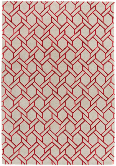 Nexus Fine Lines Silver Red Rug