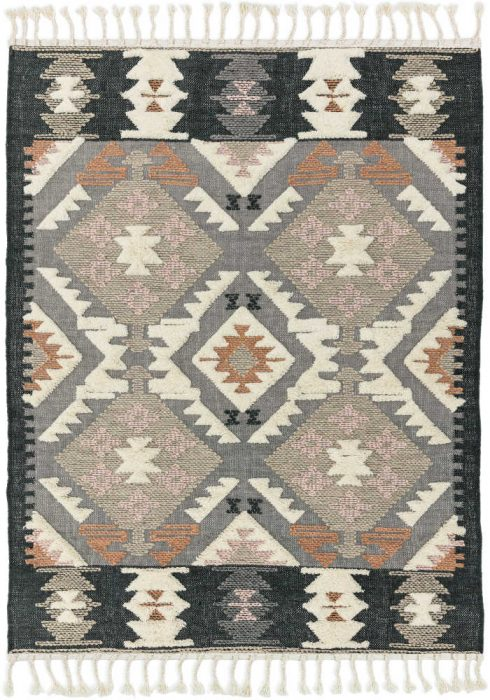 Paloma Kelim Rug by Asiatic Carpets in PA01 Zanzibar Design has hand-woven Kelims featuring areas of high pile