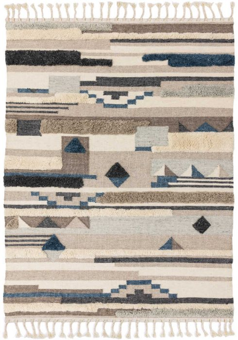 Paloma Kelim Rug by Asiatic Carpets in PA02 Mandalay Design has hand-woven Kelims featuring areas of high pile