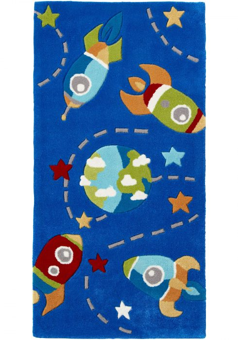 Hong Kong Kids Rug by Think Rugs, featuring multi-coloured spaceships, planets, stars on a background of dark blue