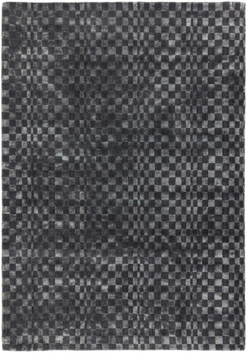 Oska Rug by Asiatic Carpets in Charcoal Colour has alternate squares of wool and viscose to create an illusionary pattern