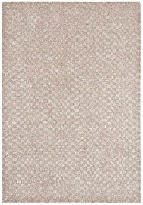 Oska Rug by Asiatic Carpets in Sand Colour has alternate squares of wool and viscose to create an illusionary pattern