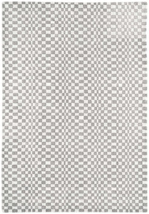 Oska Rug by Asiatic Carpets in Silver Colour has alternate squares of wool and viscose to create an illusionary pattern