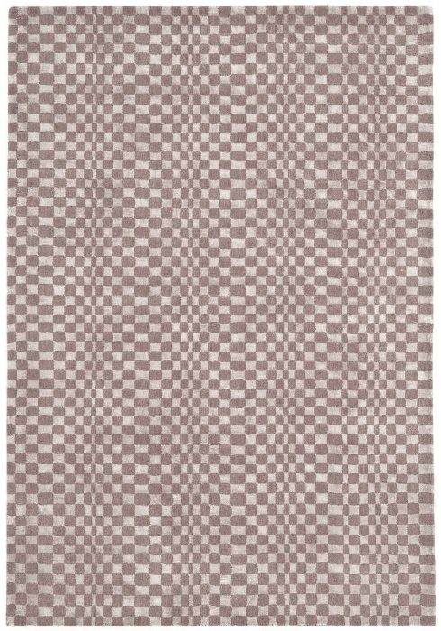 Oska Rug by Asiatic Carpets in Taupe Colour has alternate squares of wool and viscose to create an illusionary pattern