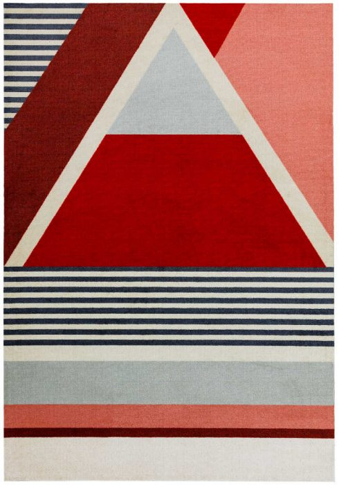 Riley Rug by Asiatic Carpets in RL02 Red Design; a printed polyester rug in BOLD geometric design