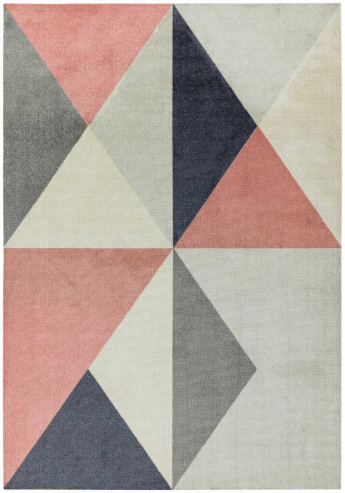 Riley Rug by Asiatic Carpets in RL06 Pink Design; a printed polyester rug in BOLD geometric design