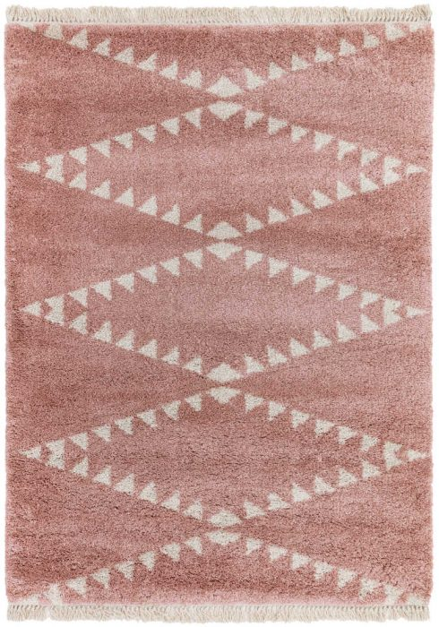 Rocco Rug by Asiatic Carpets in RC01 Pink Design; a Berber-inspired shaggy rug with a decorative fringe