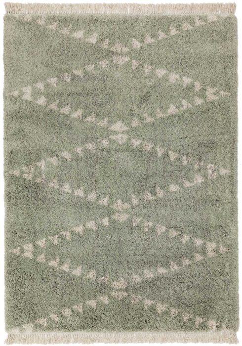 Rocco Rug by Asiatic Carpets in RC02 Green Design; a Berber-inspired shaggy rug with a decorative fringe