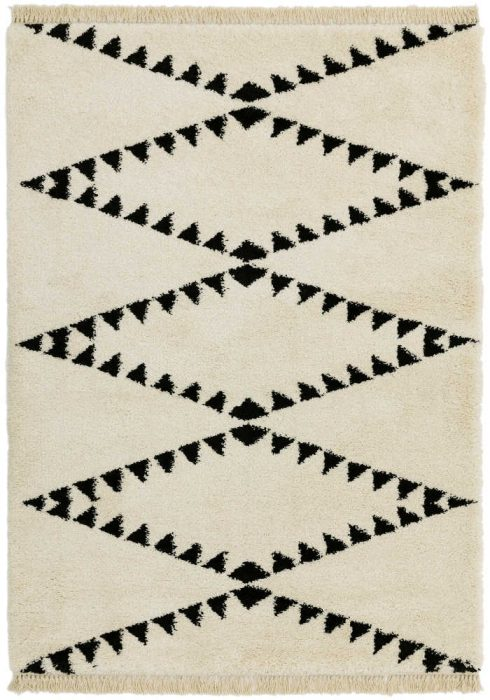 Rocco Rug by Asiatic Carpets in RC03 Cream Design; a Berber-inspired shaggy rug with a decorative fringe