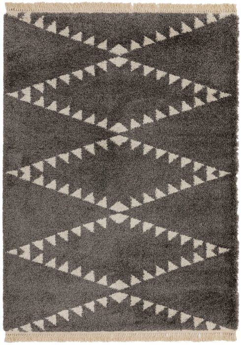 Rocco Rug by Asiatic Carpets in RC04 Charcoal Design; a Berber-inspired shaggy rug with a decorative fringe
