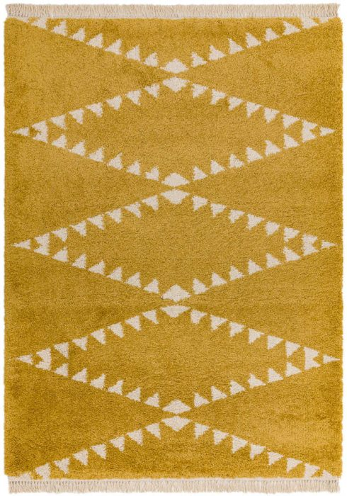 Rocco Rug by Asiatic Carpets in RC05 Mustard Design; a Berber-inspired shaggy rug with a decorative fringe