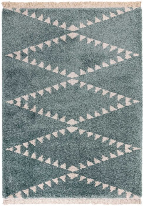 Rocco Rug by Asiatic Carpets in RC06 Blue Design; a Berber-inspired shaggy rug with a decorative fringe