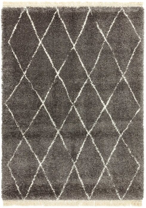 Rocco Rug by Asiatic Carpets in RC07 Grey Diamond Design; a Berber-inspired shaggy rug with a decorative fringe