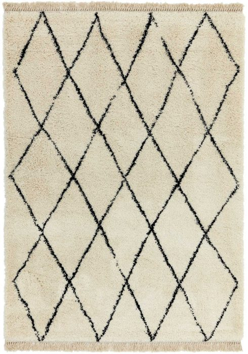 Rocco Rug by Asiatic Carpets in RC08 Cream Diamond Design; a Berber-inspired shaggy rug with a decorative fringe
