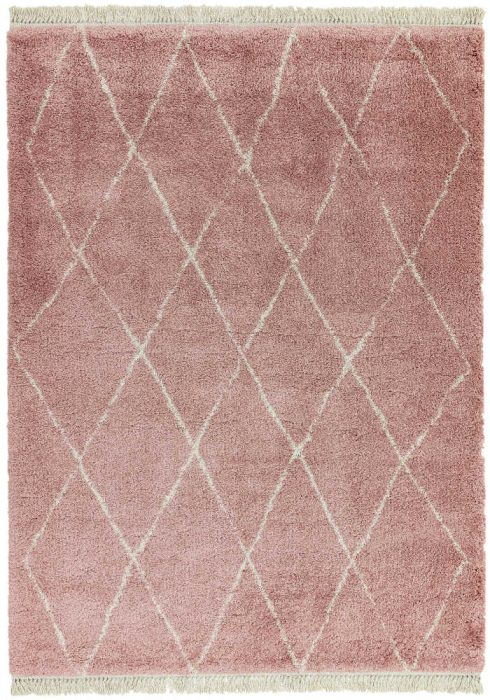 Rocco Rug by Asiatic Carpets in RC09 Pink Diamond Design; a Berber-inspired shaggy rug with a decorative fringe