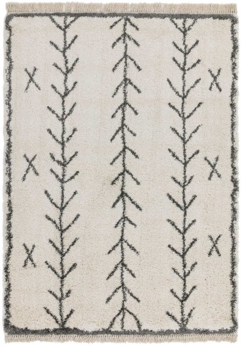Rocco Rug by Asiatic Carpets in RC10 Cream Arrow Design; a Berber-inspired shaggy rug with a decorative fringe