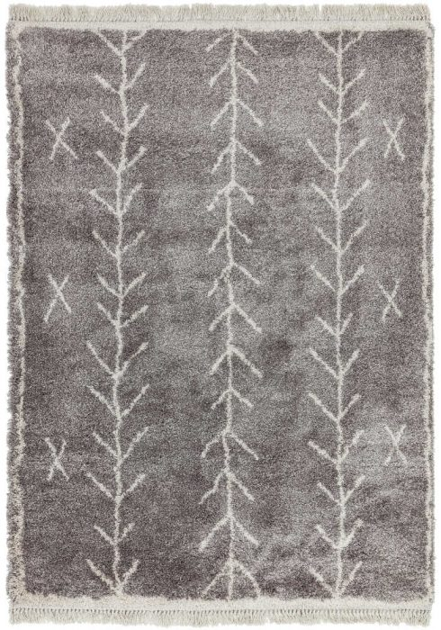 Rocco Rug by Asiatic Carpets in RC11 Grey Arrow Design; a Berber-inspired shaggy rug with a decorative fringe