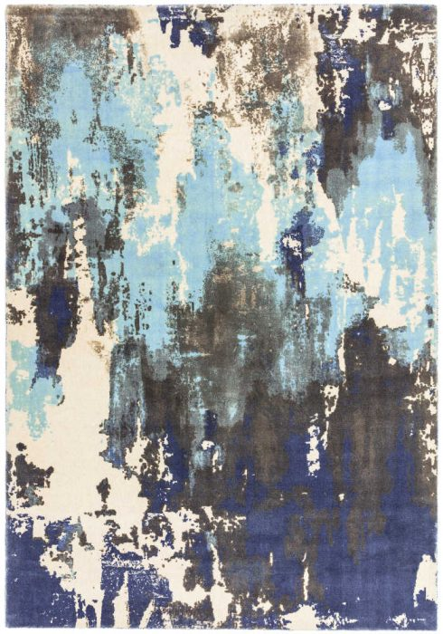 Saturn Rug by Asiatic Carpets in Blue Colour; a printed wool rug with a colourful abstract design