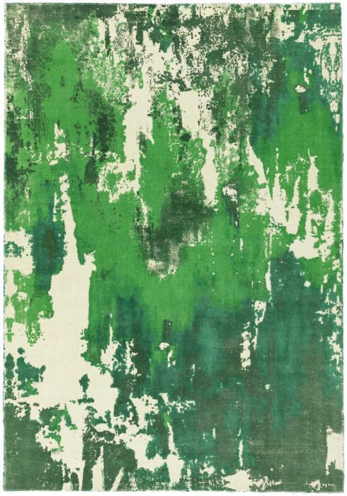 Saturn Rug by Asiatic Carpets in Green Colour; a printed wool rug with a colourful abstract design