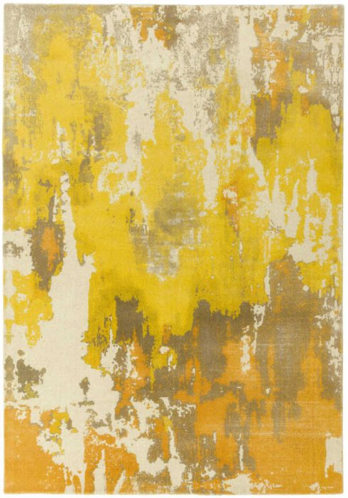 Saturn Rug by Asiatic Carpets in Yellow Colour; a printed wool rug with a colourful abstract design