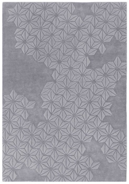 Starburst Rug by Asiatic Carpets in Lilac Colour; a hand-tufted extra-thick wool-rich rug with a hand-carved star pattern