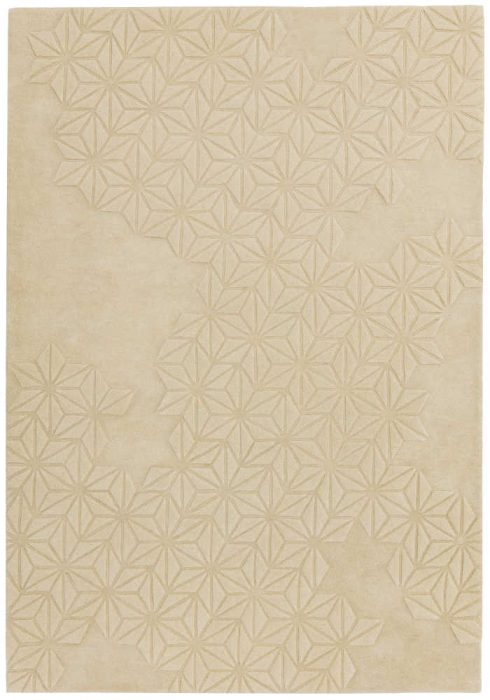 Starburst Rug by Asiatic Carpets in Natural Colour; a hand-tufted extra-thick wool-rich rug with a hand-carved star pattern
