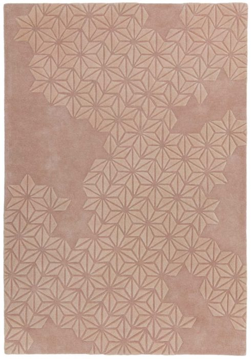 Starburst Rug by Asiatic Carpets in Pink Colour; a hand-tufted extra-thick wool-rich rug with a hand-carved star pattern